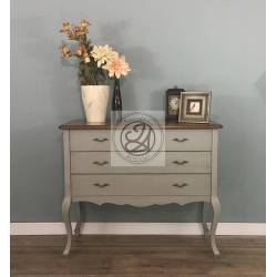 Big Hardwood Chest of Drawers - Green Water Color